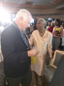 ANTHEA McGIBBON PHOTOS: Musgrave Medals Awards Ceremony held at the Lecture Hall, Institute of Jamaica on May 25th, 2017. Ainsley Henriques congratulated Myrna Hague.