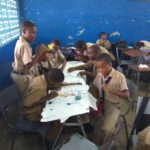 Allman Town Primary 2017 Grade 6 students work enthustiastically on their designs, thoughts and tiles.