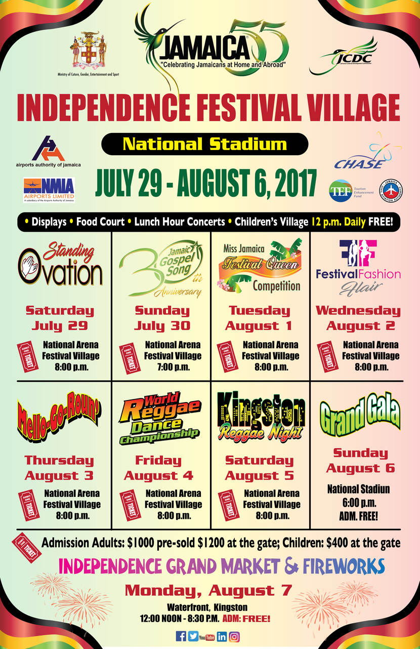 Events for Jamaica's 55th anniversary from July 29th to August 7th, 2017