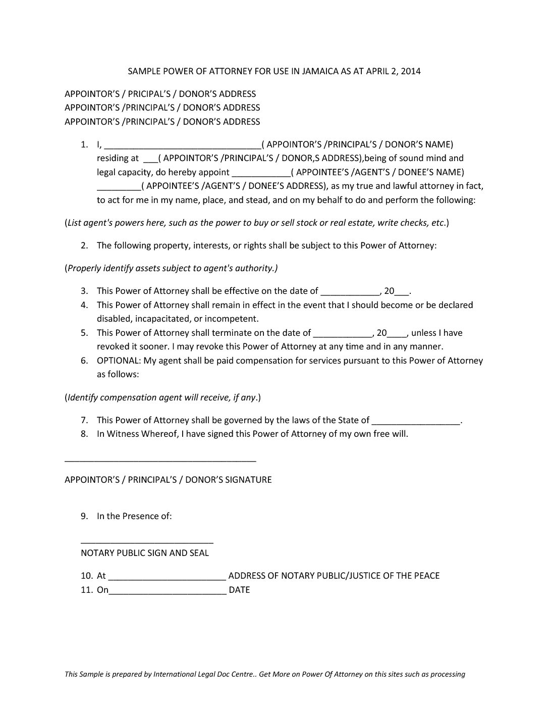 power of attorney form jamaica  Example of Power of Attorney document to use in Jamaica ...